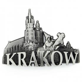 Metalowy magnes na lodówkę panorama Kraków rynek