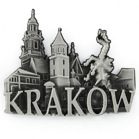 Metalowy magnes na lodówkę panorama Kraków Wawel