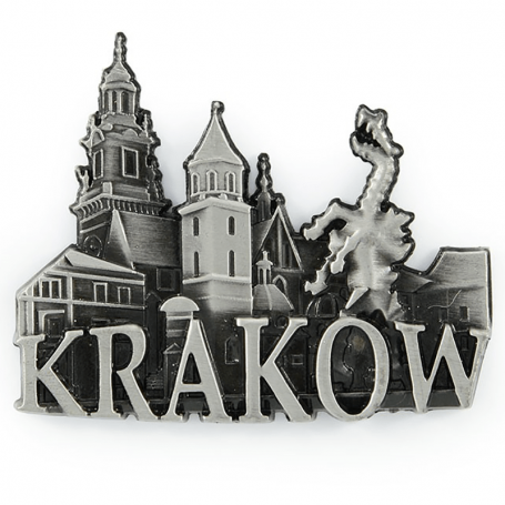 Un aimant de réfrigérateur en métal panorama Cracovie Wawel