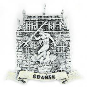 Schwarz-Weiß-Kühlschrankmagnet Gdańsk Dwór Artusa