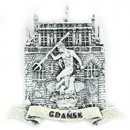 Magnes na lodówkę czarno-biały Gdańsk Dwór Artusa