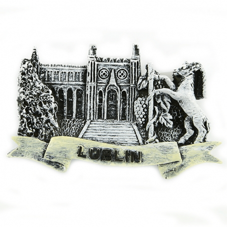Imán de nevera blanco y negro Castillo de Lublin