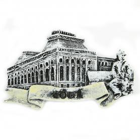 Magnes na lodówkę czarno-biały Łódź Pałac Poznańskiego