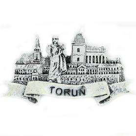 Black and white fridge magnet Toruń Panorama