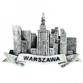 Kühlschrankmagnet schwarz und weiß Warschau City