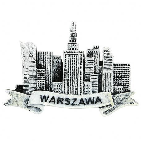 Imán de nevera en blanco y negro Varsovia