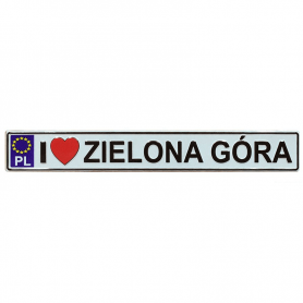 Metal fridge magnet with license plate Zielona Góra