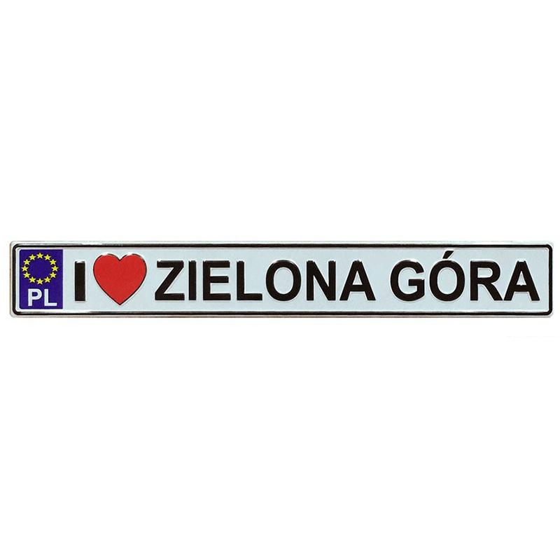 Aimant frigo en métal avec plaque d'immatriculation Zielona Góra