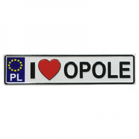 Metal fridge magnet with license plate Opole