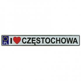 Metal fridge magnet with license plate Czestochowa