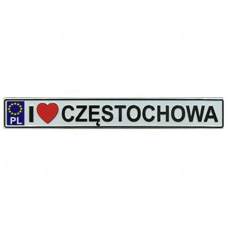 Aimant frigo en métal avec plaque d'immatriculation Czestochowa