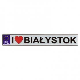 Metal fridge magnet license plate Białystok
