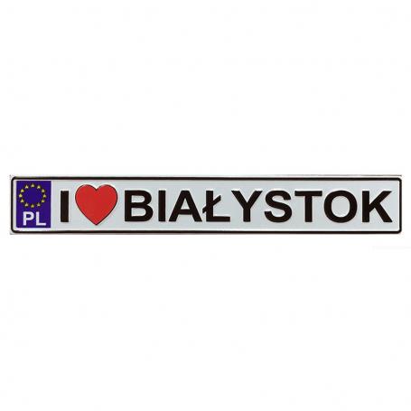 Metalowy magnes na lodówkę tablica rejestracyjna Białystok