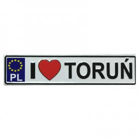 Metalowy magnes na lodówkę tablica rejestracyjna Toruń