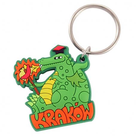 Porte-clés en caoutchouc de Cracovie - dragon avec saucisse