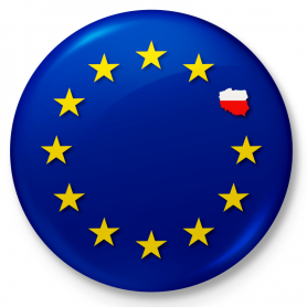 Button pin, pin Poland-European Union