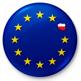 Button refrigerator magnet Poland-European Union