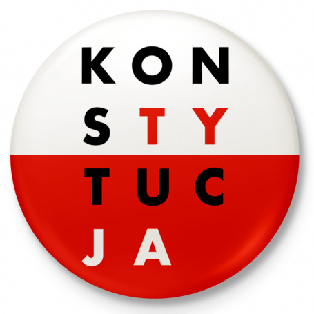 Bouton badge, épingle CONSTITUTION blanche et rouge