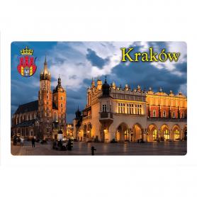 Aimant pour réfrigérateur avec effet 3D Cracovie, l'église Sainte-Marie et la Halle aux Draps