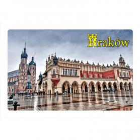Magnes na lodówkę z efektem 3D Kraków Sukiennice w deszczu