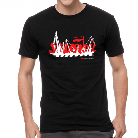 Camiseta de grúas solidarias.