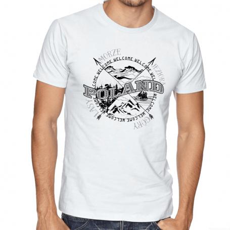 Koszulka Polska róża wiatrów biała