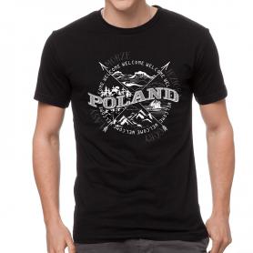 Koszulka Polska róża wiatrów czarna