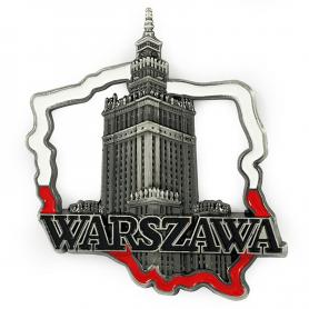 Metal fridge magnet Warsaw PKiN