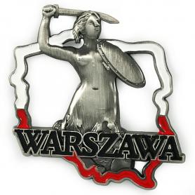 Metall Kühlschrankmagnet Warschau Mermaid