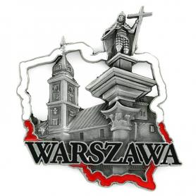 Metal fridge magnet Warsaw Old Town