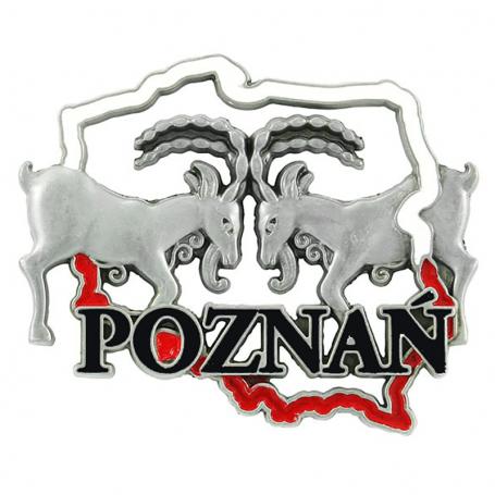 Metalowy magnes na lodówkę Poznań Koziołki