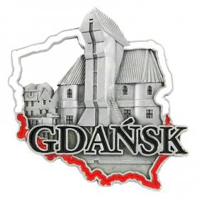 Metal fridge magnet Gdańsk Crane