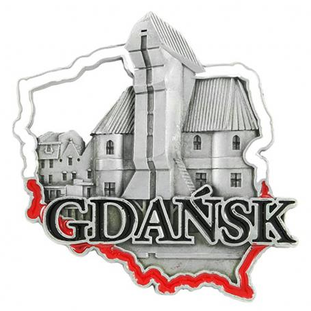 Metalowy magnes na lodówkę Gdańsk Żuraw