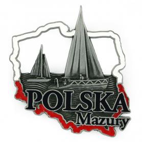 Metal fridge magnet Poland Mazury
