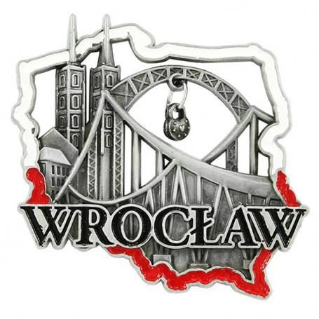 Metal fridge magnet Wroclaw bridge