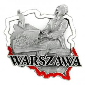 Metalowy magnes na lodówkę Warszawa Chopin