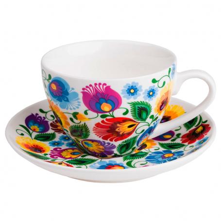 Liaudies gėlių puodelis iš Łowicz išpjovos - baltas