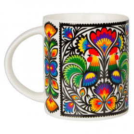 A folk mug - a rooster from a cut-out in Łowicz