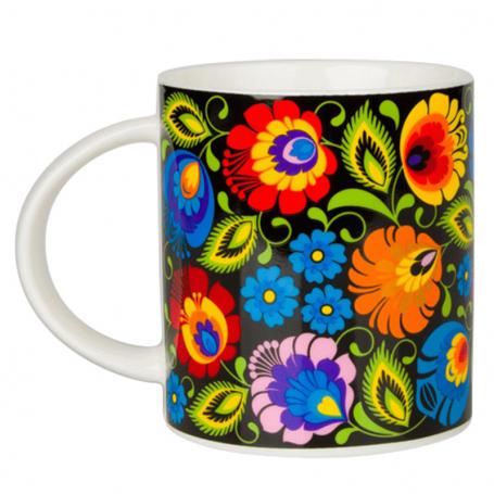 Mug en fleurs folkloriques de la découpe à Łowicz - noir