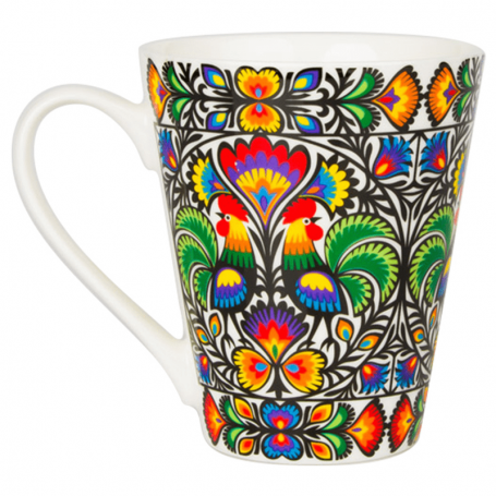Mug à motifs folkloriques - Coqs Lowicz
