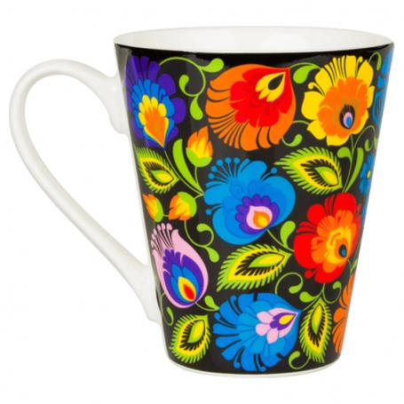 Liaudies modelių puodelis - juodos spalvos Łowicki