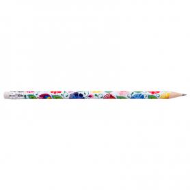 Ołówek z gumką - łowicki biały