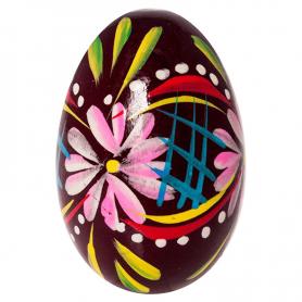 Ręcznie malowane drewniane jajko - pisanka ludowa - bordowe