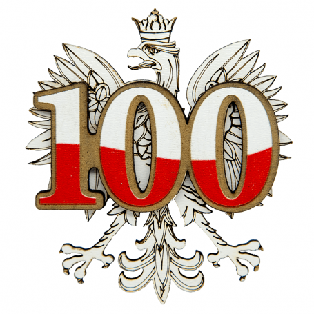Magnes na lodówkę drewniany 100-lecie Niepodległości