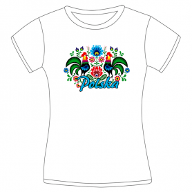 Ladies' folk t-shirt - white Lowland roosters