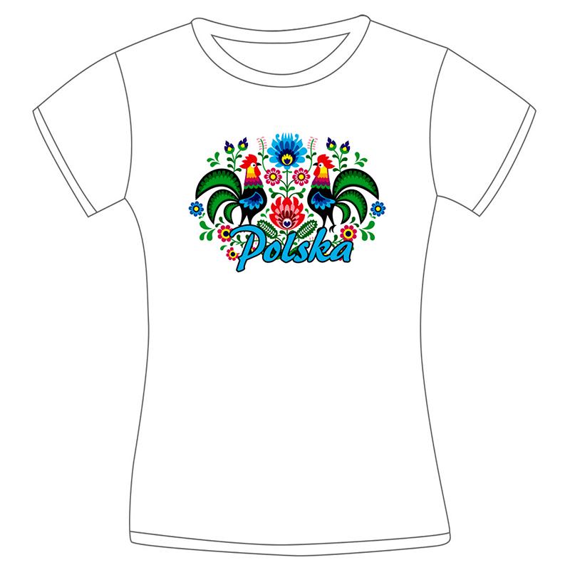 Koszulka damska folk - koguty łowickie biała