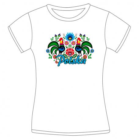 Camiseta folk para mujer - gallo blanco de tierras bajas