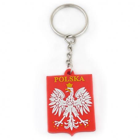 Porte-clés emblème en caoutchouc Pologne