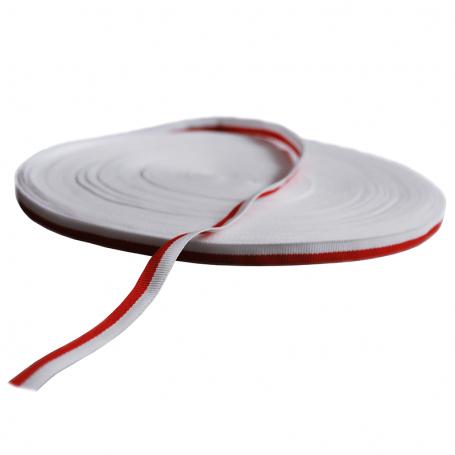 Taśma rypsowa biało-czerwona 1 cm, opakowanie 50 m