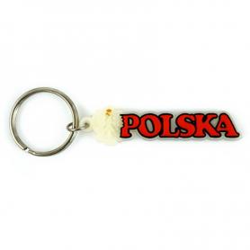 Porte-clés en caoutchouc, signe fluorescent Pologne